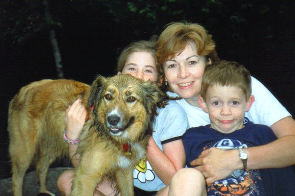Tracy with children Erica & James ...and Archie the dog - Adirondack Mountains 1996