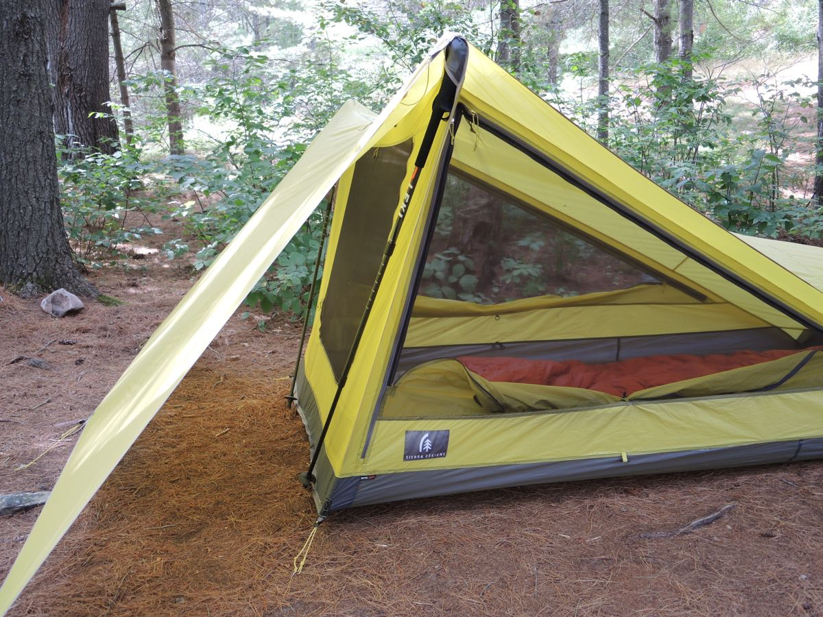 SET UP #1 - Max Protection - The front flap pegged down and creating a huge vestibule & Sierra Design Tensegrity 2 Elite